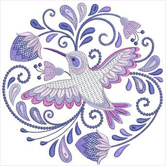 e76730c684d73 Jacobean Hummingbirds Set 1 by Santi This would be the perfect hummingbird  tattoo commemorating my grandma I could ever find.