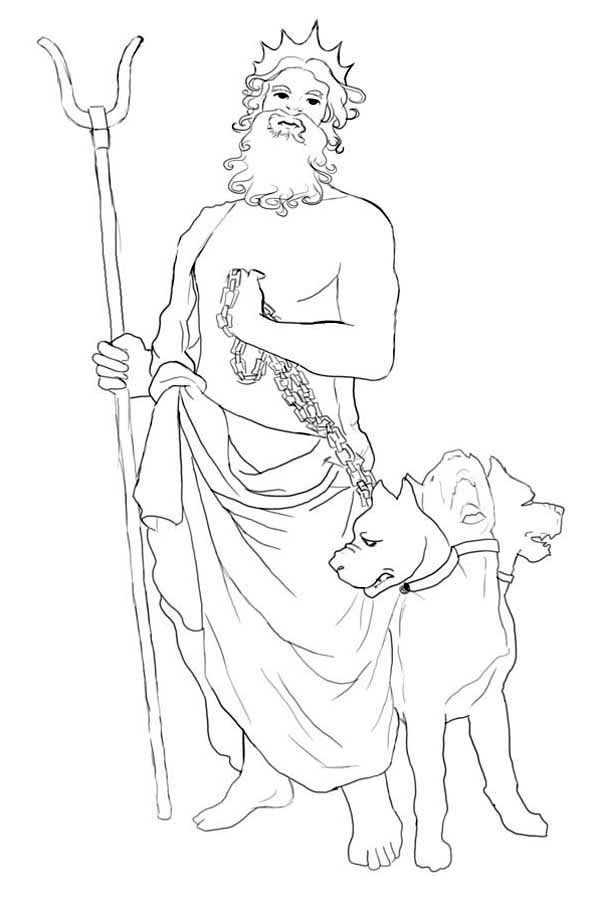 How to Draw Hades and Cerberus Coloring Page | Coloring pages for ...