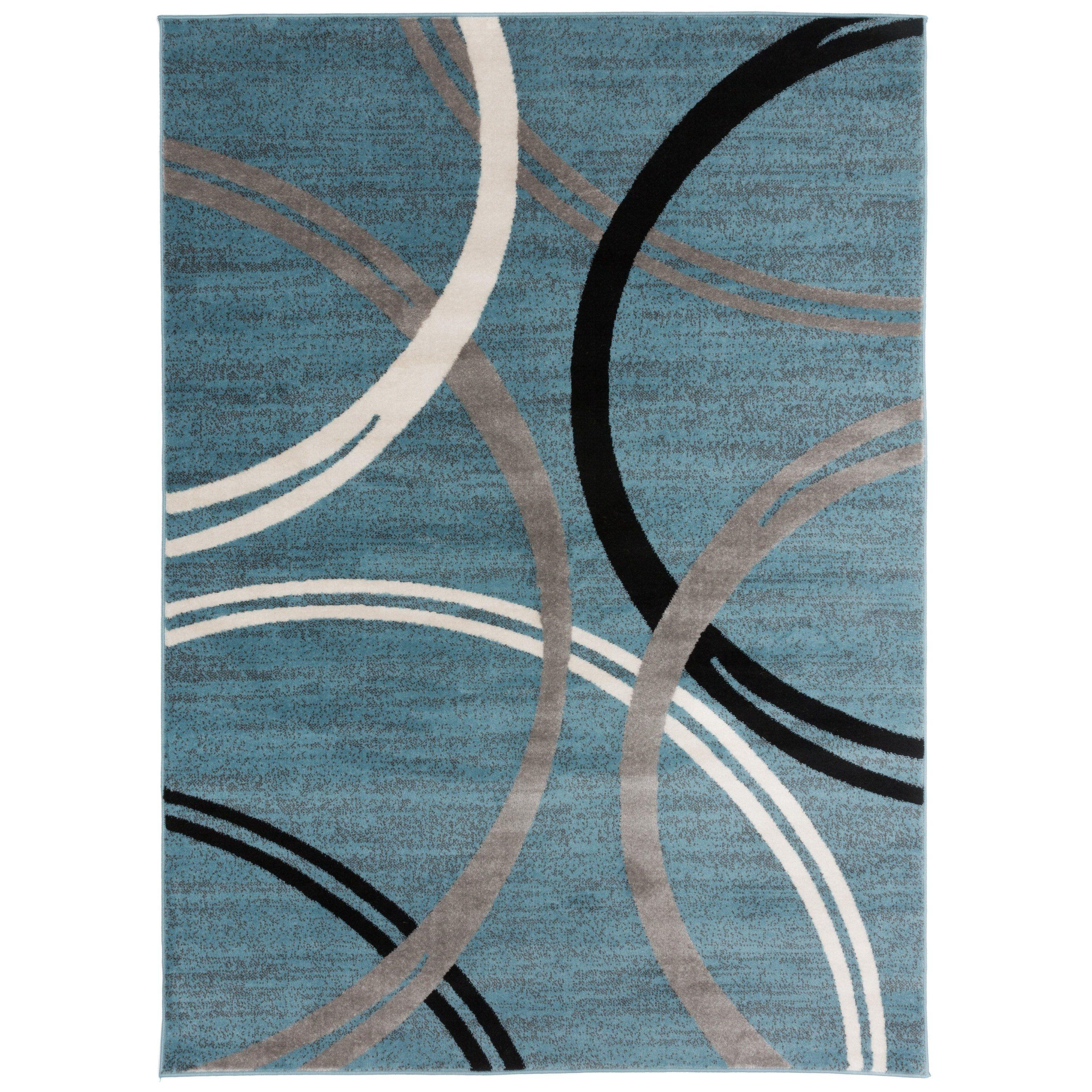 Contemporary Abstract Circles Design Area Rug Blue 3 3 X 5 3