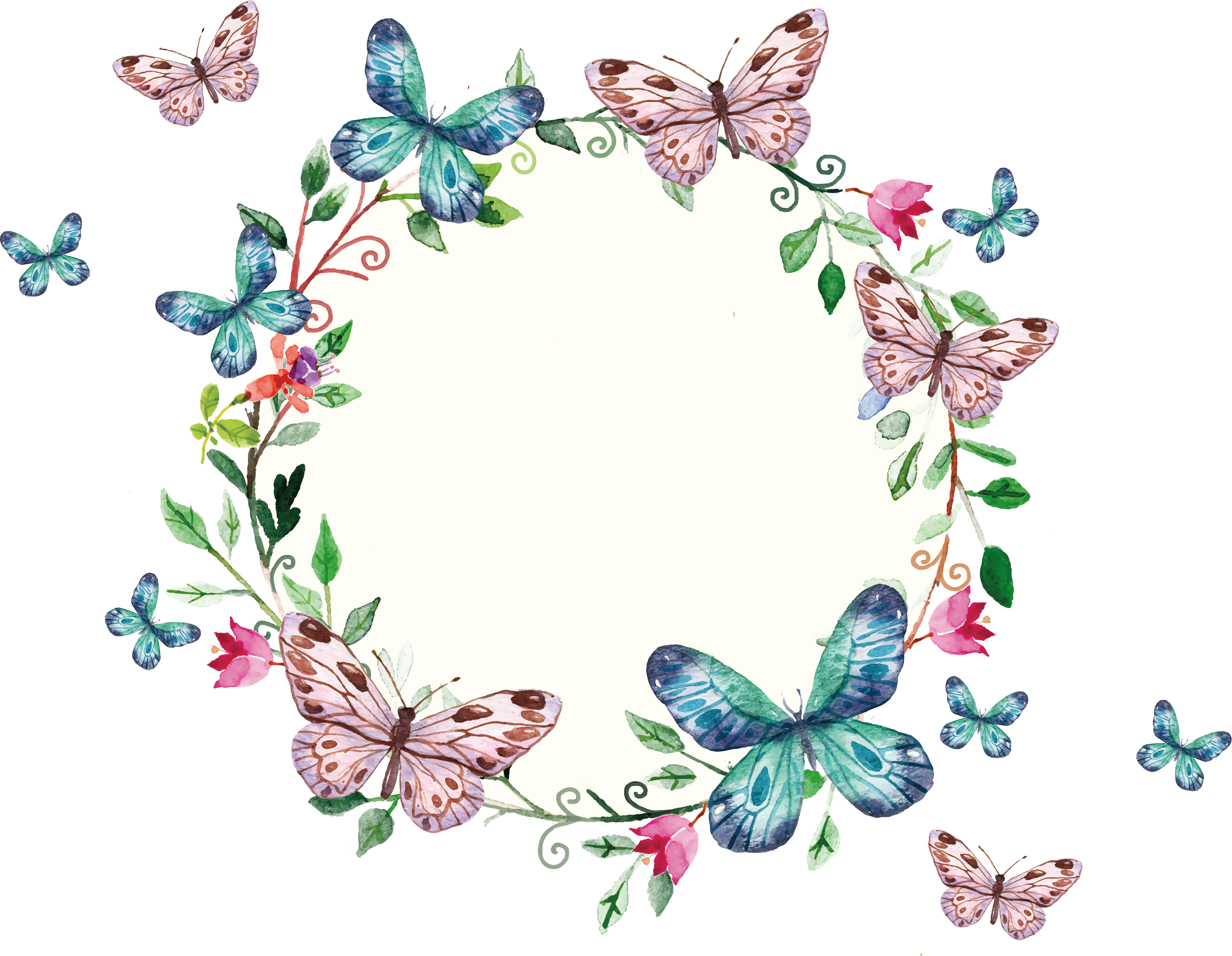 freepi.com / floral wreath and butterflies frame | Renkli Çerçeveler ...