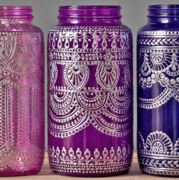 Custom Painted Mason Jar Vase, Moroccan Inspired Home Decor with Silver Metal Accents, Your Choice of Henna Design and Glass Color  This listing is for