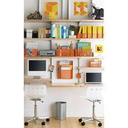 The Container Store Birch Platinum Elfa Decor Study Wall Elfa Shelving Kids Desk Decor