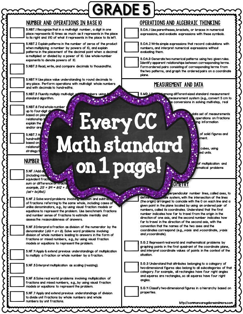 Common Core Math Checklists 5th Grade 3rd 4th 5th Grade Math