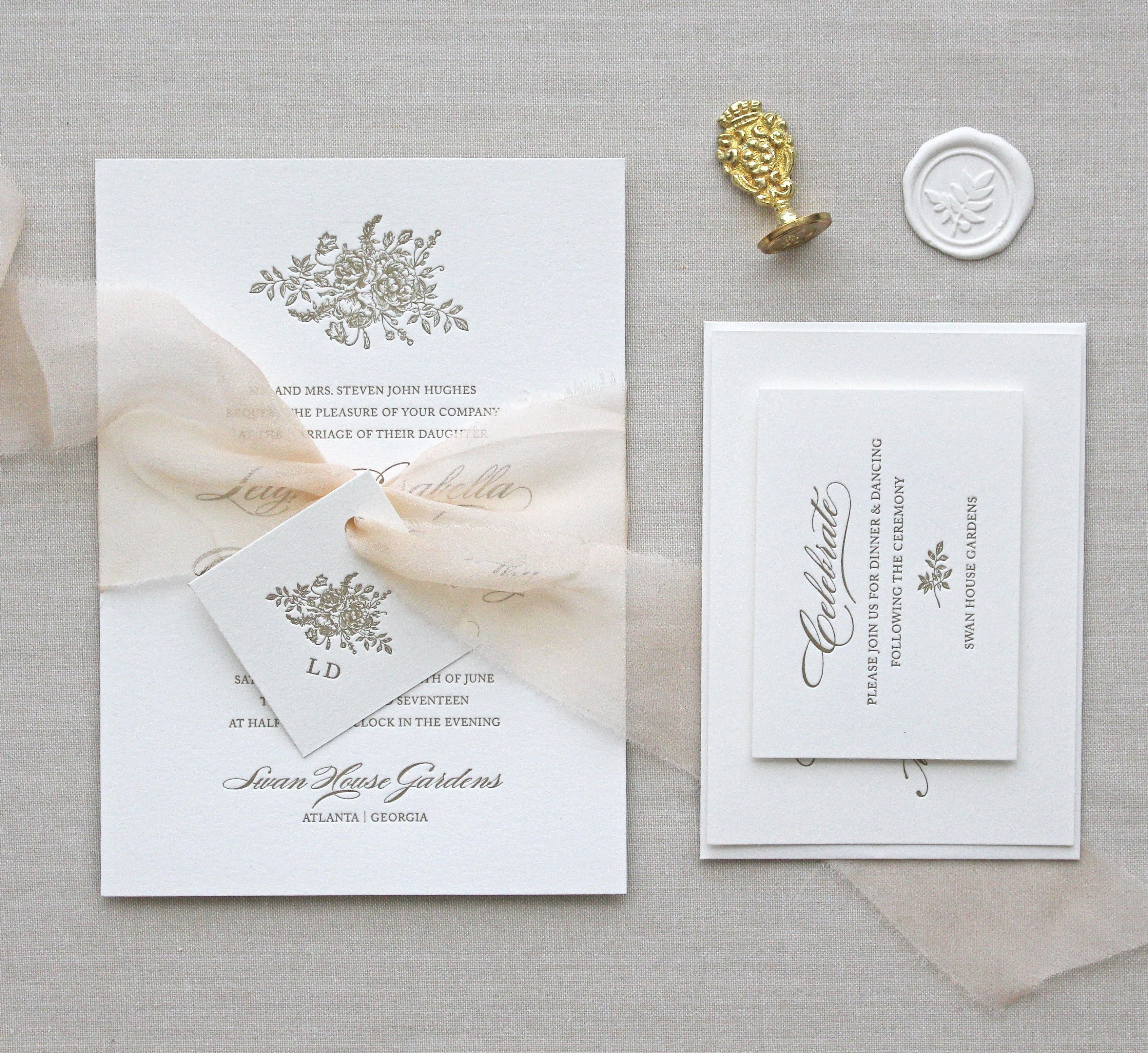 Letterpress Wedding Invitation / Bouquet Design/ CHATHAM & CARON ...
