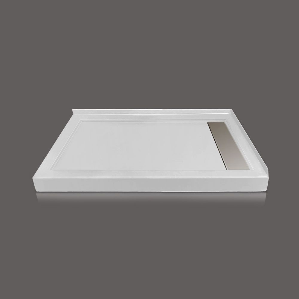 48 X 32 In. Linear Drain Double Threshold Right Hand Shower Base