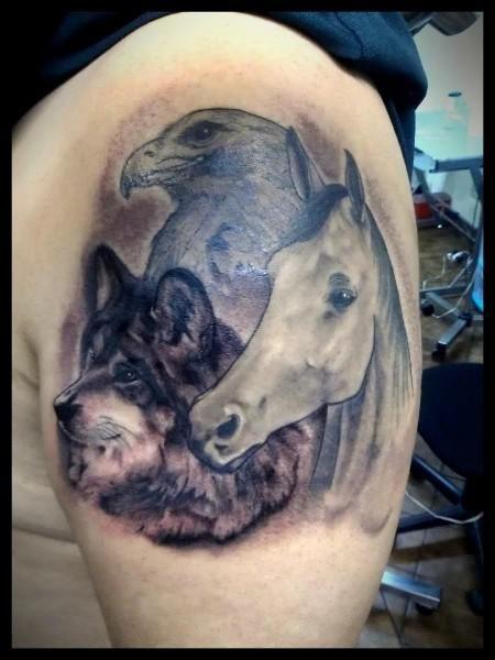 horse eagle and wolf large tattoo wolf tattoos tattoos pinterest tattoo wolf large. Black Bedroom Furniture Sets. Home Design Ideas