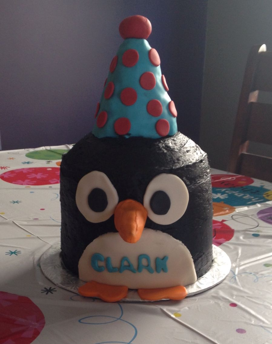Penguin With Party Hat 2nd Birthday Cake 7 Layer Chocolate Top Made In A Bowl Black Butter Cream Icing