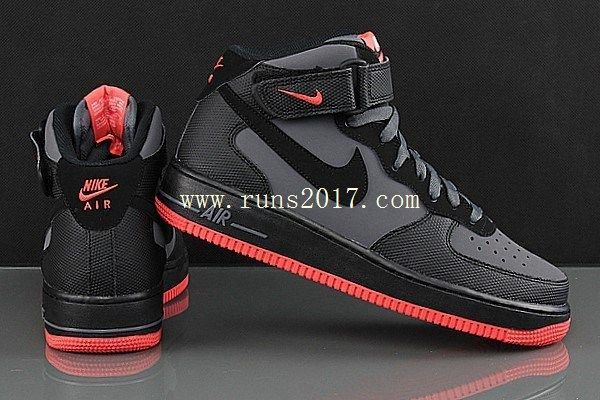 red and black nike air force 1 high tops