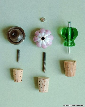 Bottle Corks:  Join craft-store corks with vintage or new drawer pulls of faceted glass, painted porcelain, and cast metal, and you can build a collection of shapely carafes for oils and extracts. If Dad is a cook, give him one for Father's Day.