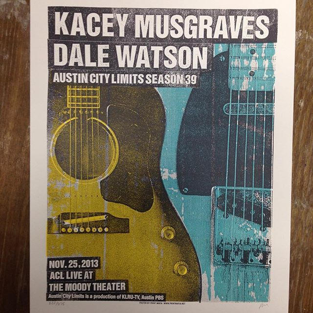 #printmafia #printmafiaoffical #printmaking #gigposter #concertposter #poster #screenprinting #screenprinting #kaceymusgraves #dalewatson #austincitylimits #themoodytheatre #2013 #cutpastedestroy three color gigposter for Austin City Limits by printmafiajim