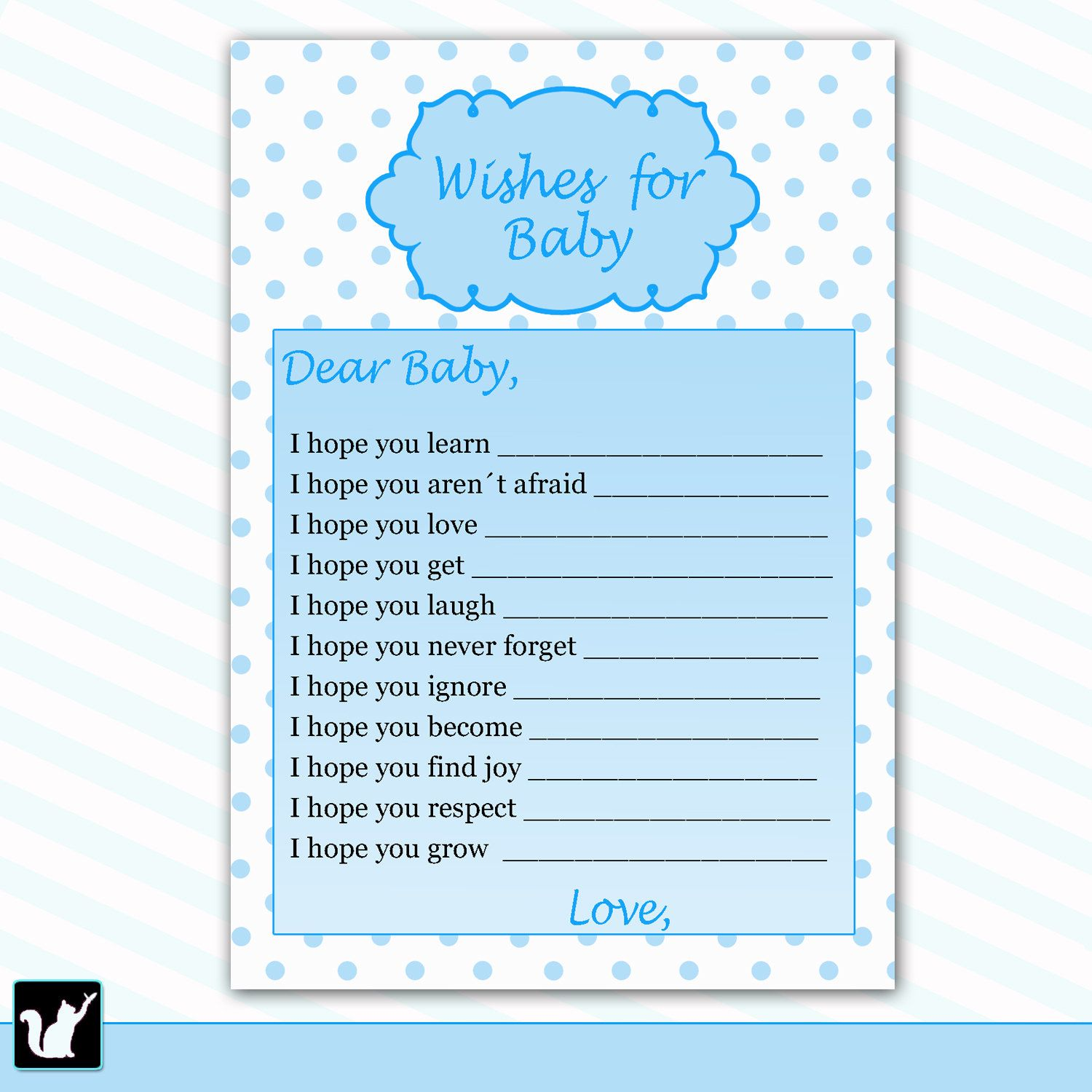 Well Wishes for Baby Card Baby Boy Shower Printable Activity Game ...