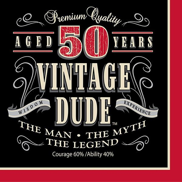 Vintage Dude 50th Lunch Napkins 16ct