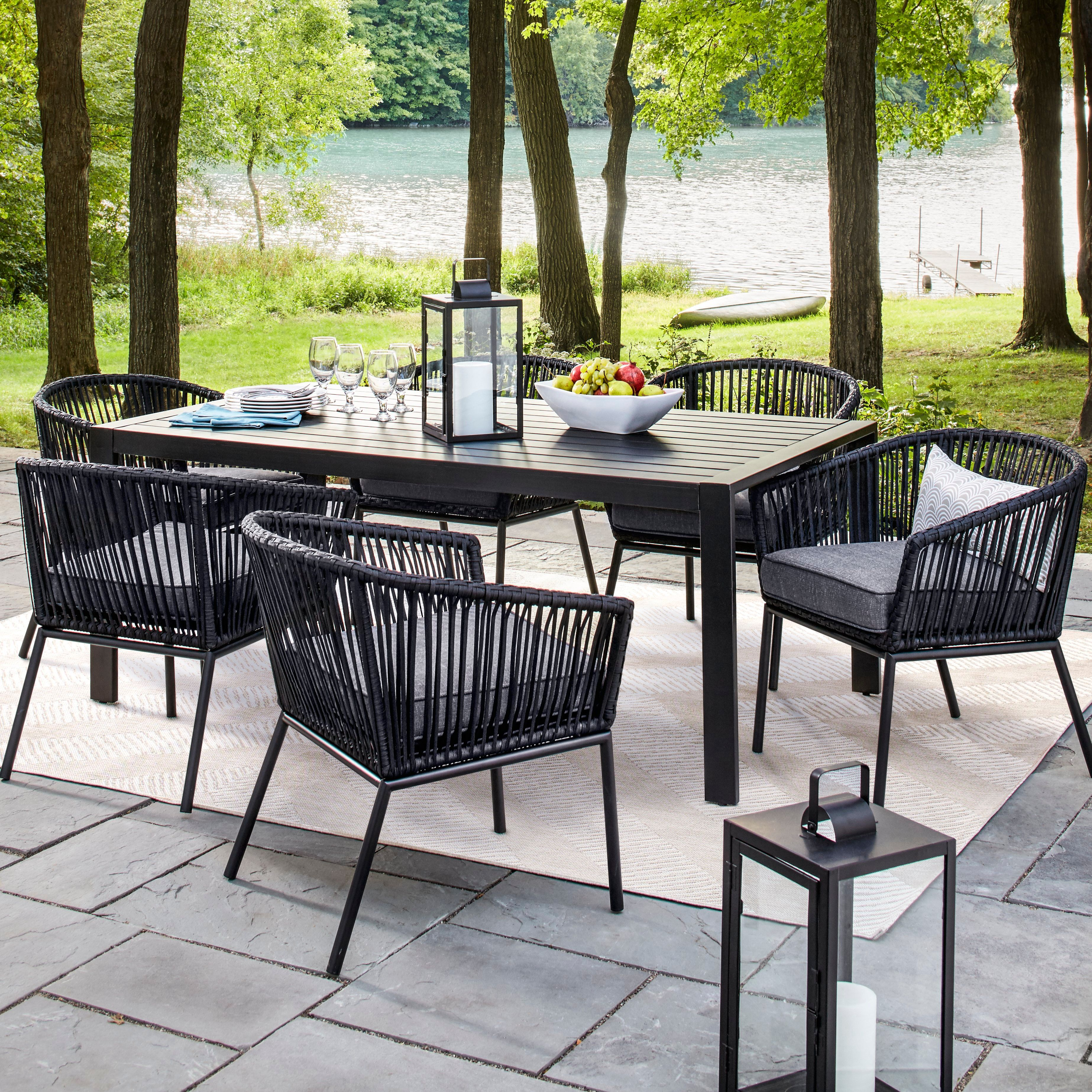 The Standish 7 Piece Strap Patio Dining Set From Threshold