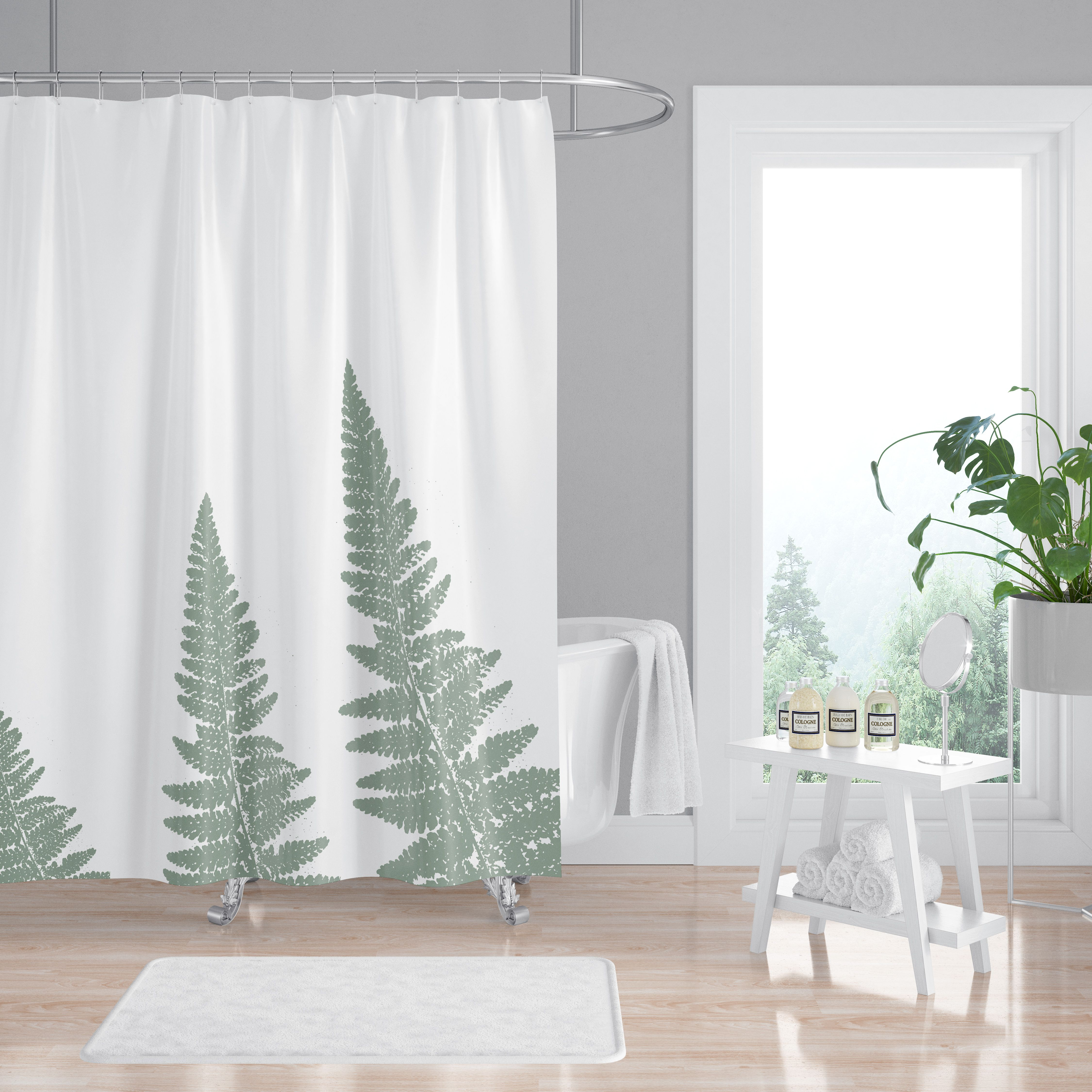 Green Woodland Ferns Spa Shower Curtain With Images Spa Shower