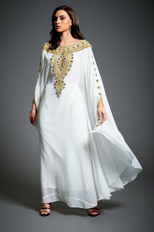 2d0c0d95fc Amira Abaya Caftan, Gold Embellished Kaftan Dress, Kaftan Maxi Dress ...