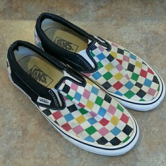 3e5c70a0d9f8ee 58% off Vans Shoes - Rainbow checkerboard slip on Vans from Meghan s closet  on Poshmark