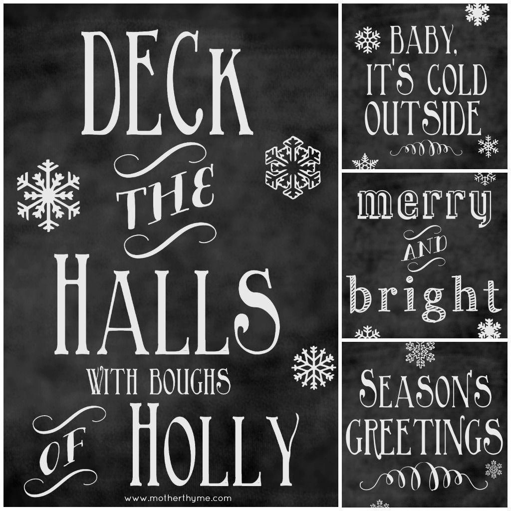 Free Christmas Chalkboard Printables | Chalkboards, Christmas ...