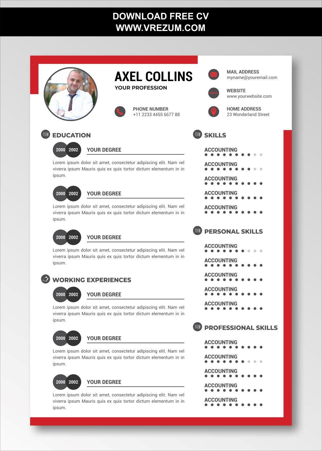 Editable Free Cv Templates For Bank Teller Cv Template Free Cv Template Resume Template Free