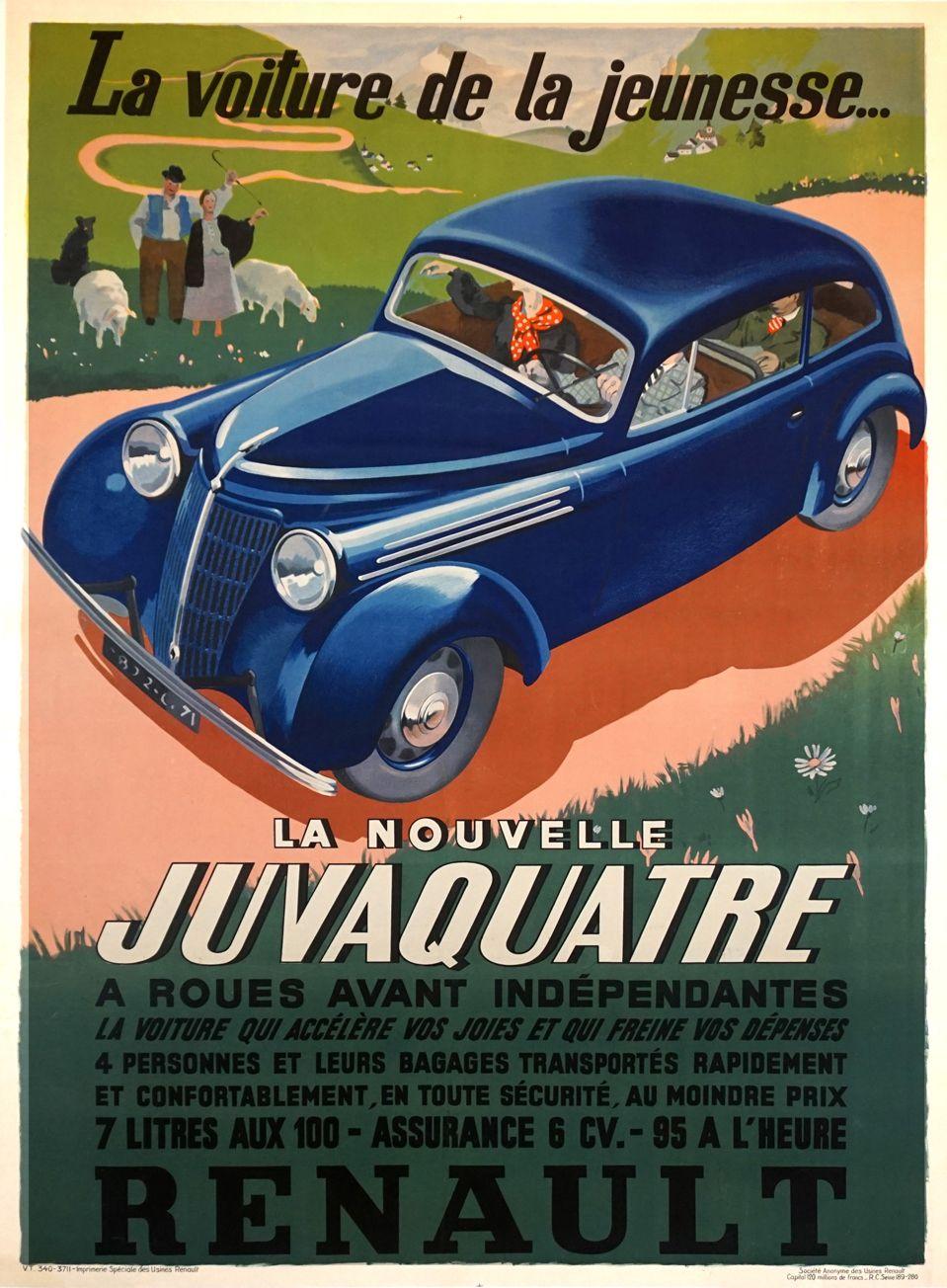 French Vintage Art Deco Automobile Poster For Renault Juvaquatre 1937 Vintage Posters By La Belle Epoque Vintage Posters In Nyc Car Posters Classic Cars Vintage Vintage Posters
