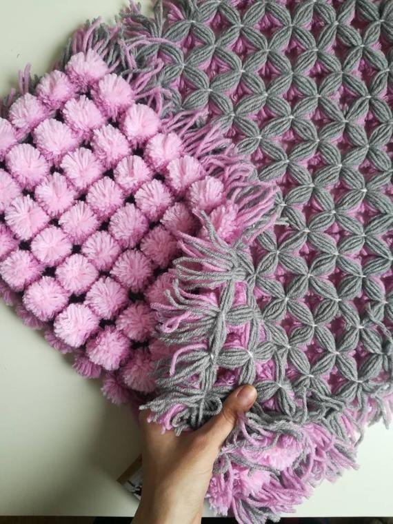 Nursery Rug Newborn Baby Photo Prop Pompon Crochet Baby Rug Crochet Baby Rug Baby Rugs Crochet Rug