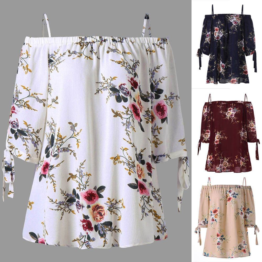 63417235e7ca71 £4.99 GBP - Fashion Womens Plus Size Floral Print Cold Shoulder Blouse  Casual Tops Camis  ebay  Fashion