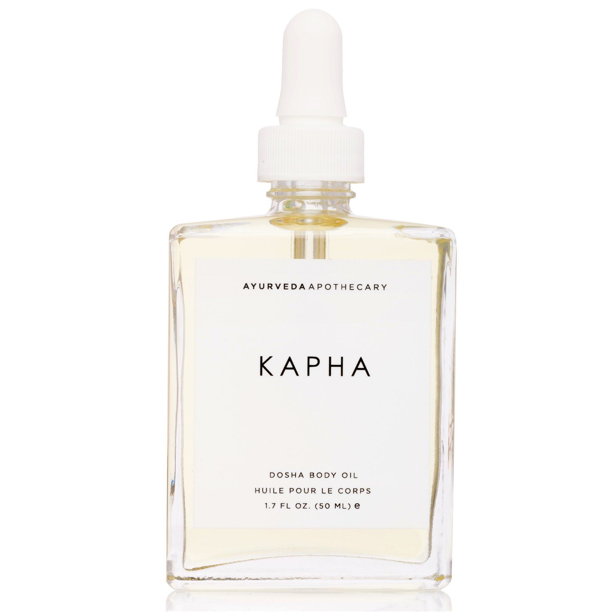 Find daily balance with this moisturizing body oil and perfume oil. Kapha Dosha Characteristics + Balance: Kapha personifies heavy, slow, cool, oily, soft and viscous characteristics. Ruled by the elements of water and earth, this dosha expresses calmness, smoothness and steadiness when in balance. When out of balance kapha is prone to sluggishness, immovability, and attachment. The body oil balances kapha by using herbs and oils that are warming, light and awakening to inspire forward momentum.