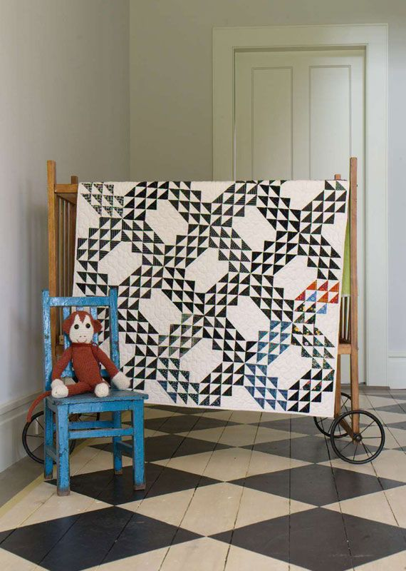 Denise Schmidt  ... In the spirit of quilters who pieced tops from whatever old clothing was on hand, whether it matched or not, Schmidt's Ocean Waves pattern includes several blocks where prints and colors vary subtly from the rest.