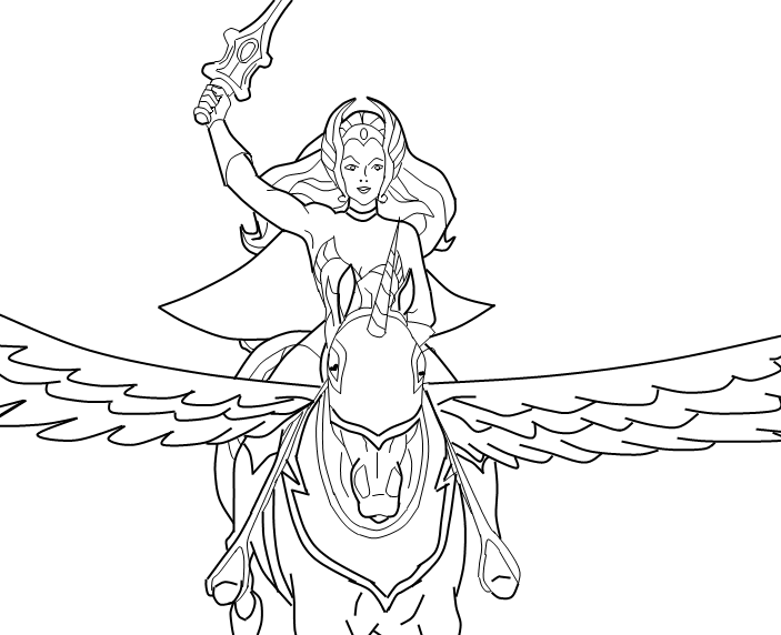 She Ra Coloring Pages She Ra On Swiftwind Coloring Pages Cartoon Coloring Pages Cute Coloring Pages