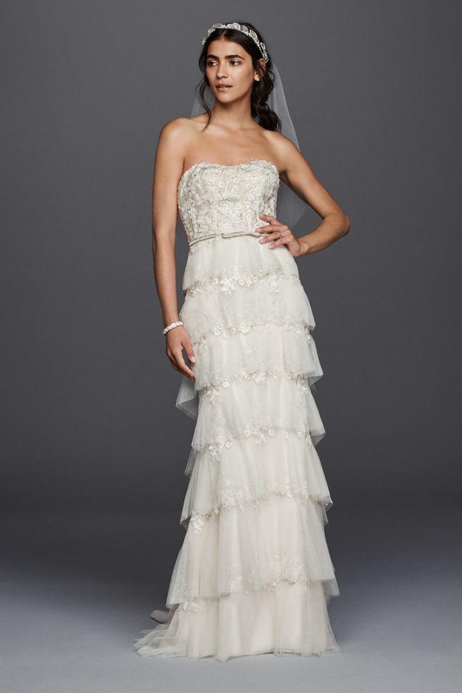 Tulle Melissa Sweet Wedding Dress with Tiered Skirt - Ivory / Tea ...