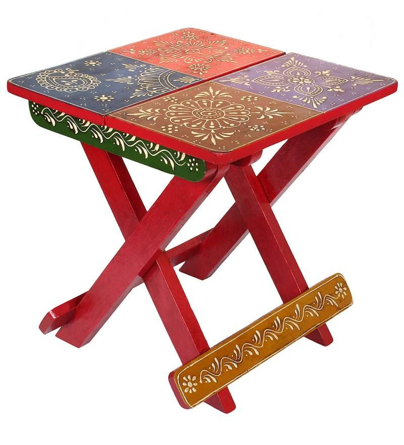 Surprising Rajasthani Multi Colour Folding Stool By Vareesha Interior Caraccident5 Cool Chair Designs And Ideas Caraccident5Info