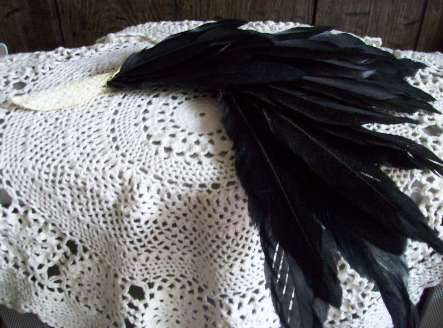Large Vintage Feathers for Hat with Hat Pin Black Feathers by kd15 on Etsy