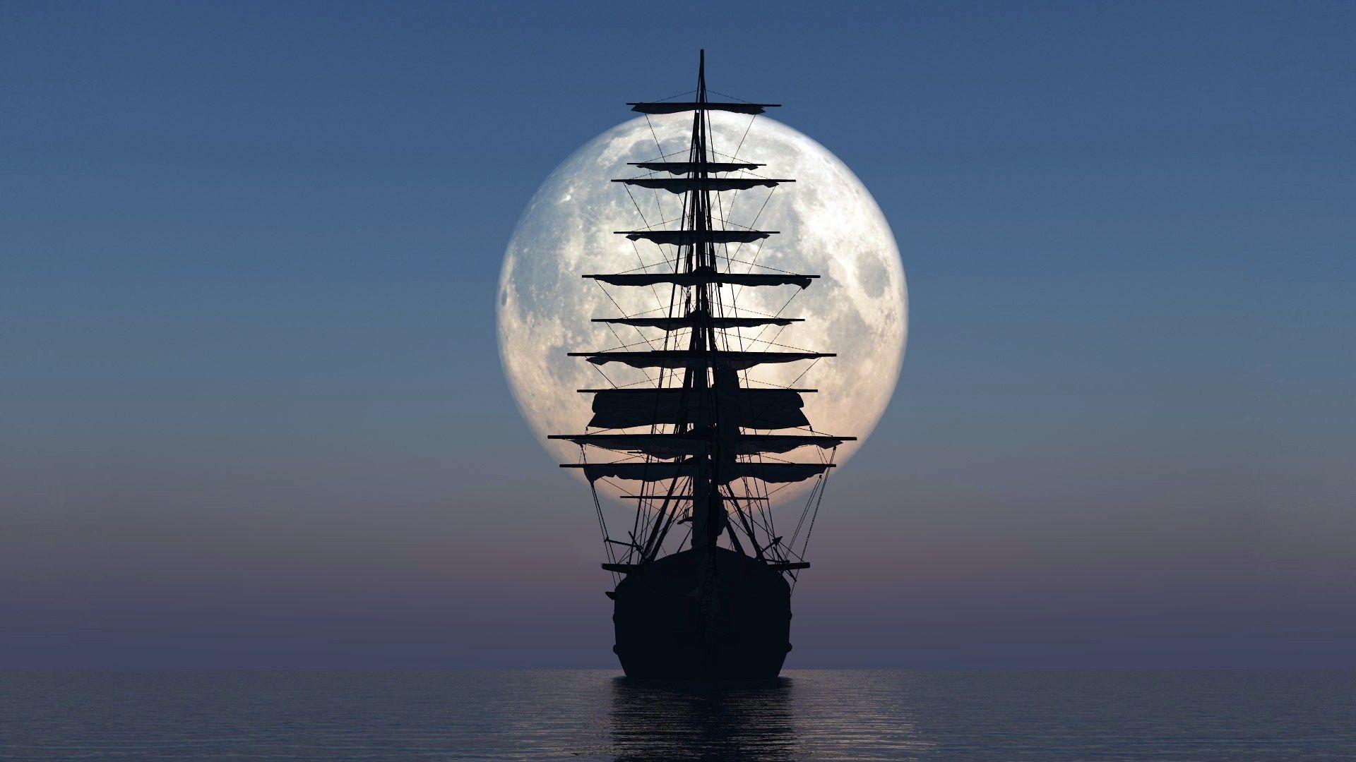 Fantastic Full Moon Over An Old Sail Ship HD Desktop