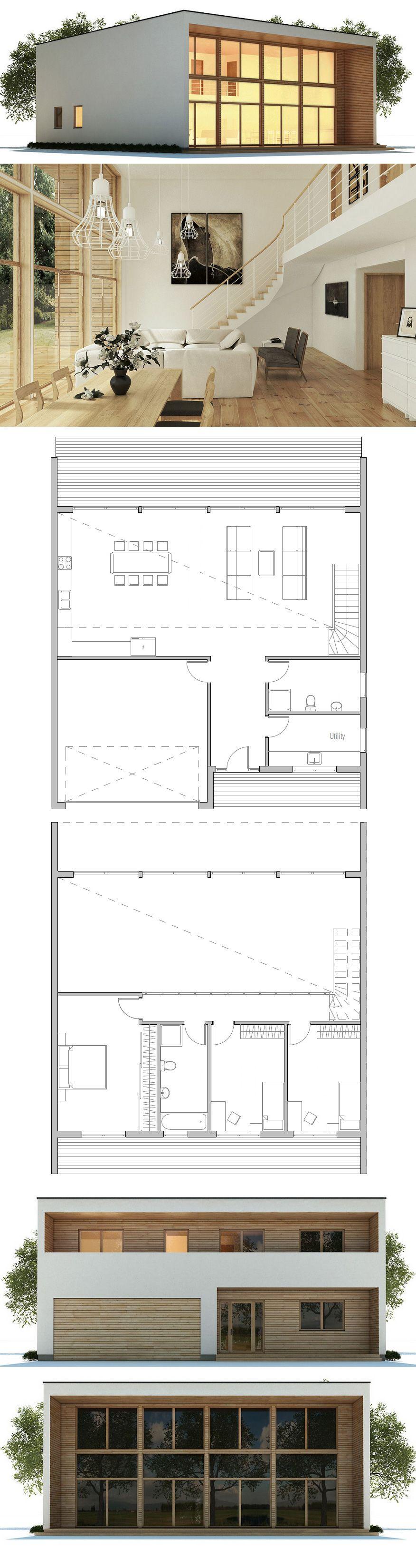Kleines haus hausplan moderne architektur pinteres for Modernes haus plan