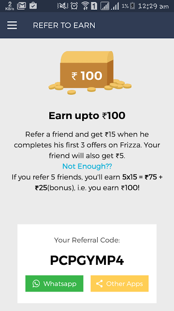 Back Again ] Frizza App - Refer friends and Get Rs 100