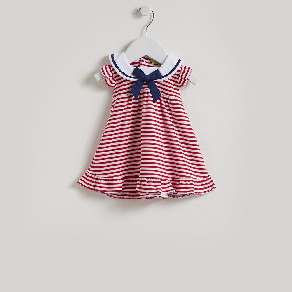 Kissy Kissy QT Marine Stripe Baby Dress w//Collar and Diaper Cover