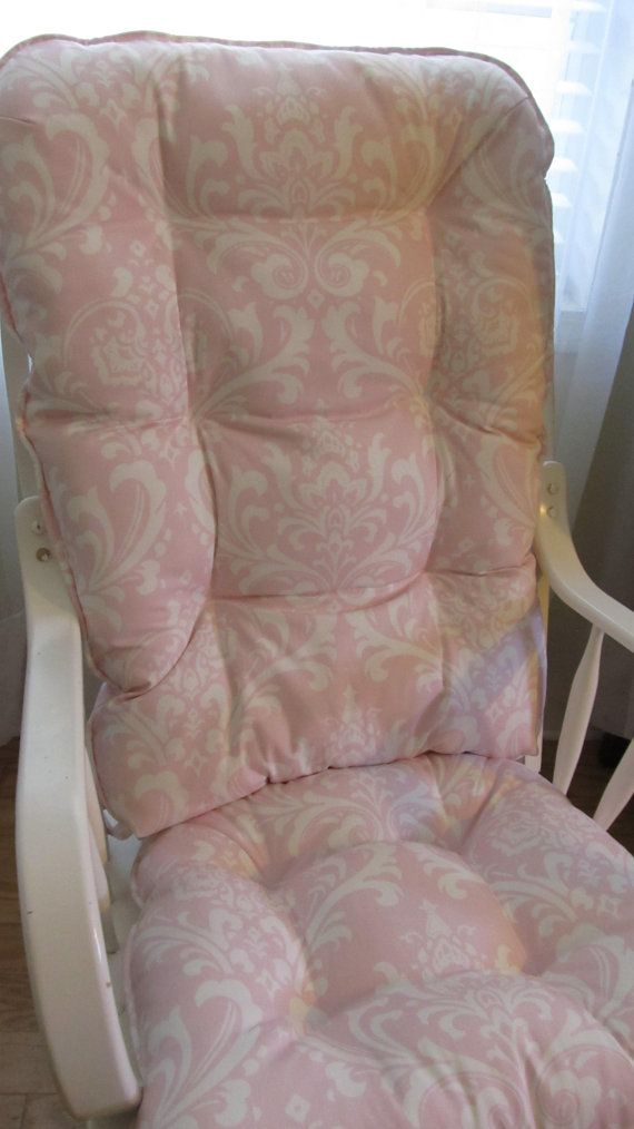 Rocking Chair Or Glider Cushion Set In Pastel Baby Light Pink And White Damask Print Baby Nursery P Rocking Chair Pads Glider Cushions Rocking Chair Cushions