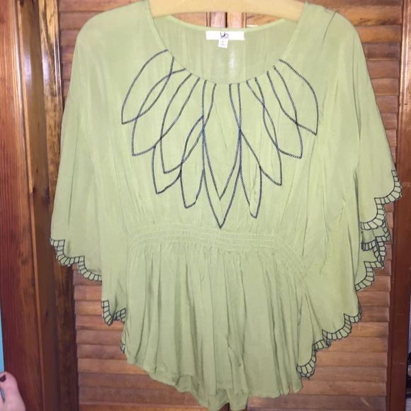 Green Ya blouse Draped blouse-cinched in at waist. Navy stitched detail around neck and sleeves. Great condition and brand! Ya Los Angeles Tops Blouses