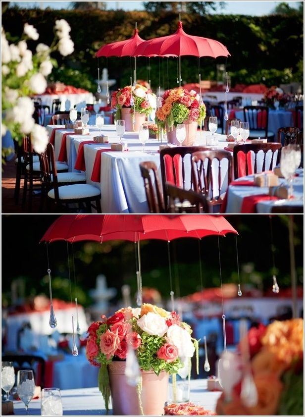 Umbrella centerpieces with crystals as raindrops outdoor for Decoration theme jardin