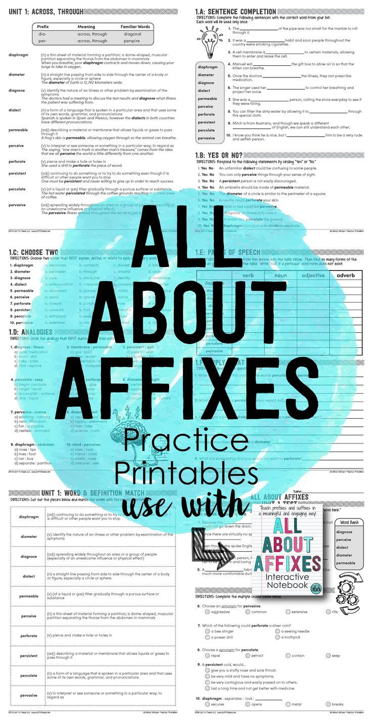 Prefixes and Suffixes Practice Printables | Educational systems ...