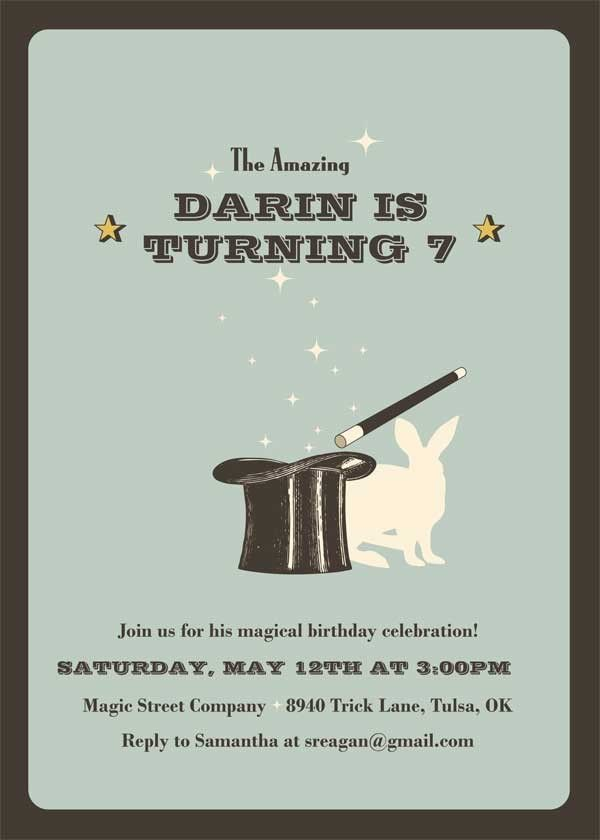 Magic Hat Birthday Party Invitation - by The Opened Envelope ...