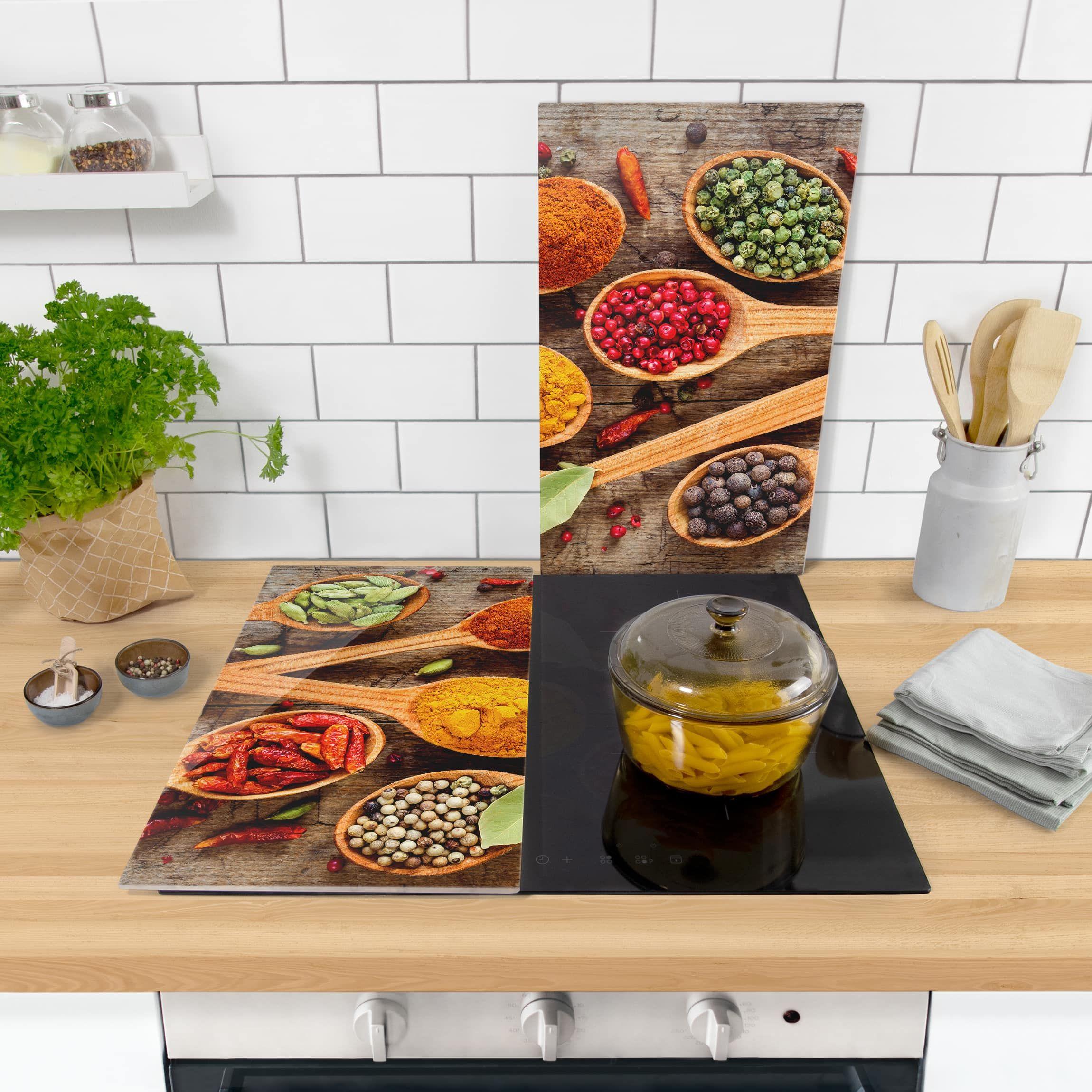 Herdabdeckplatte Glas Gewurze Auf Holzloffel 52x60cm Kuchen Ideen Herd Fliesenaufkleber