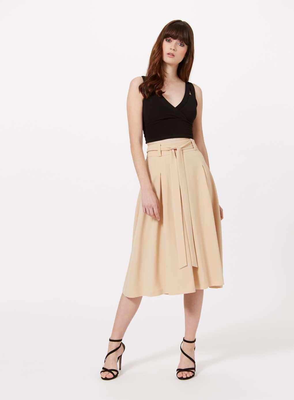 bd7f26984 Camel Tie Waist Midi Skirt. - Shorts and Skirts | Girl | Skirts ...