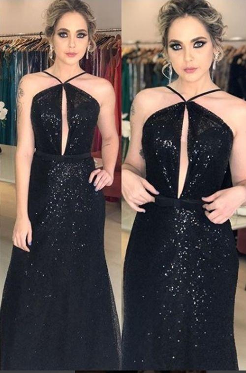 81201f66b Seleção de vestido longo preto para madrinha e formanda | looks ...