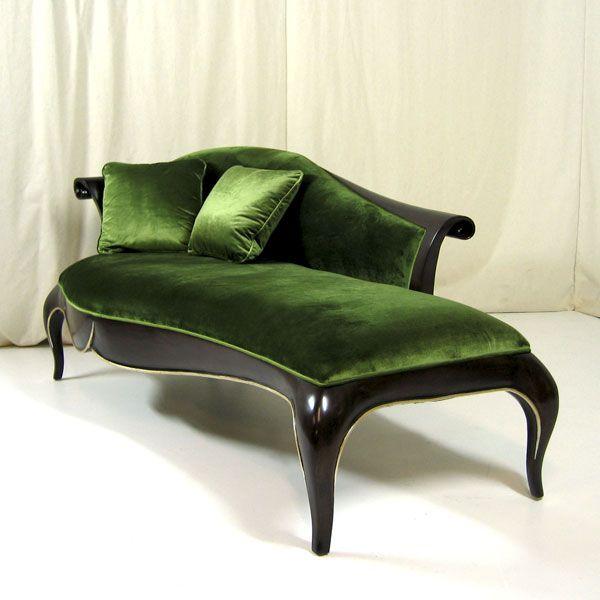 modern art deco styled green velvet chaise