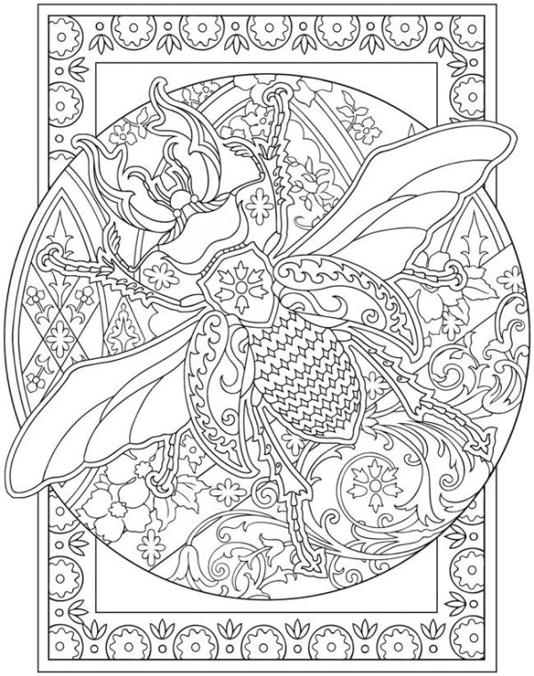 Adult Coloring Page From The Creative Haven Incredible Insect Designs Book Beetle Provided By Great Publisher Dover Publications