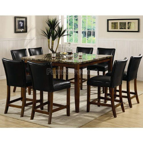 Coaster Furniture Telegraph Counter Height Dining Set With Faux Marble Top 120317 Ch Dining Set Dining Room Furniture Dining Table Counter Height Dining Table