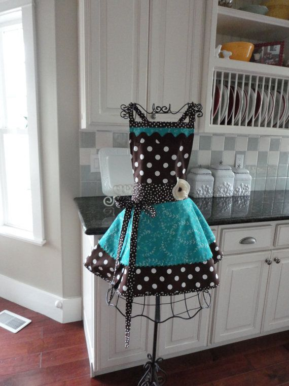 4RetroSisters Annabelle Style Womens Full Apron Chocolate Brown & Teal Blue  One of a Kind via Etsy