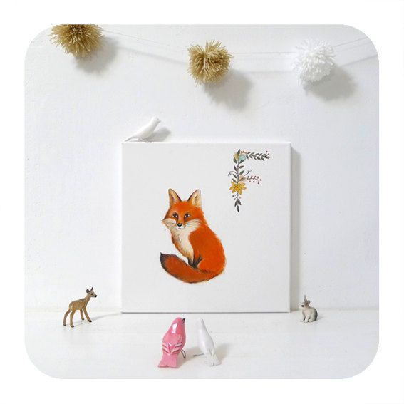 Red Fox painting Alphabet illustration fox woodland by inameliart
