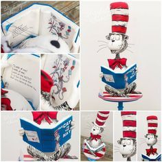 Cat in the Hat cake details by #blissfullysweet Features carved cake, painted sketch lines and fully carved and painted CITH book for birthday book to keep. #blissfullysweetcakes