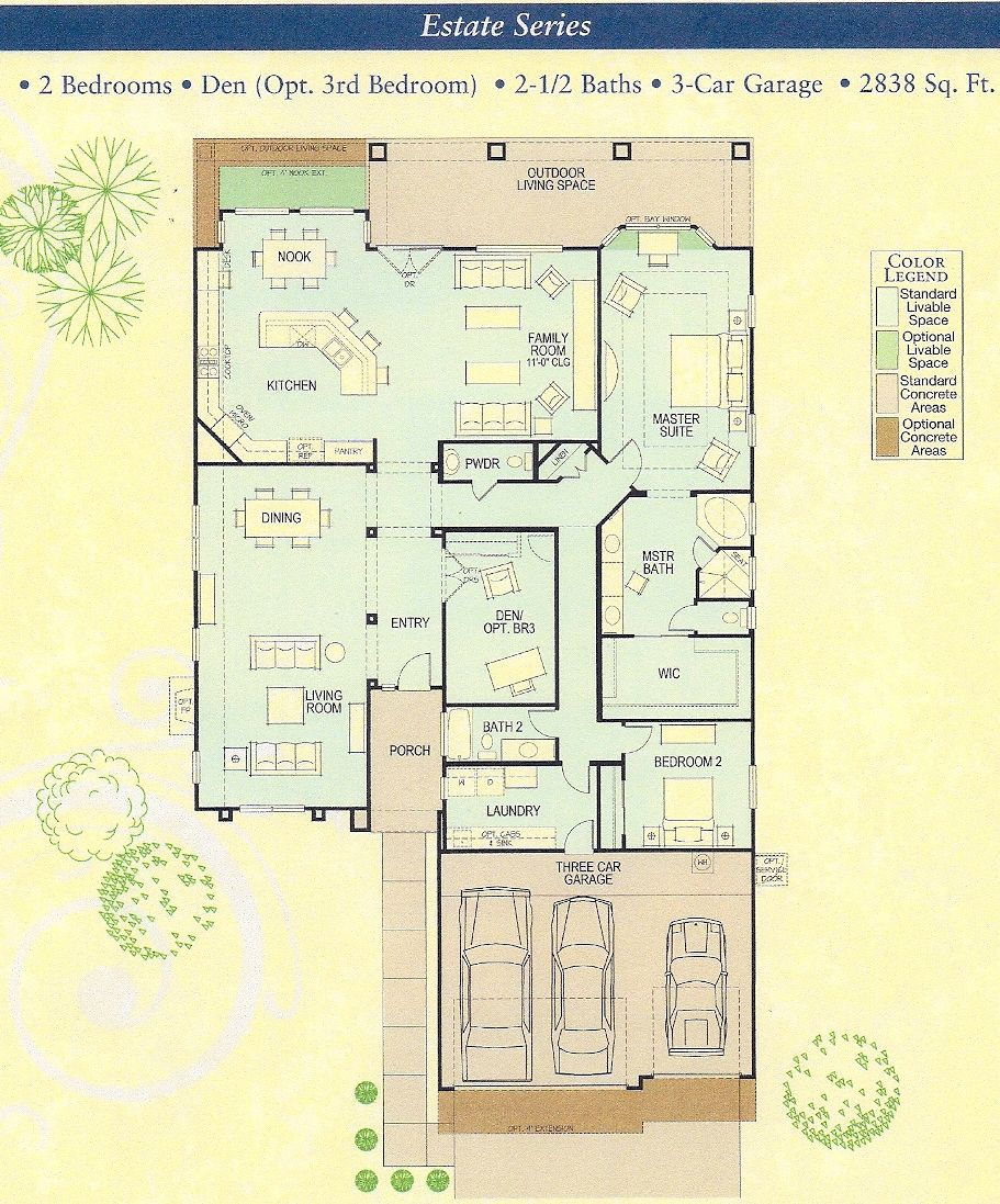 Robson Ranch Marbella 2838 One Story Floor Plan House